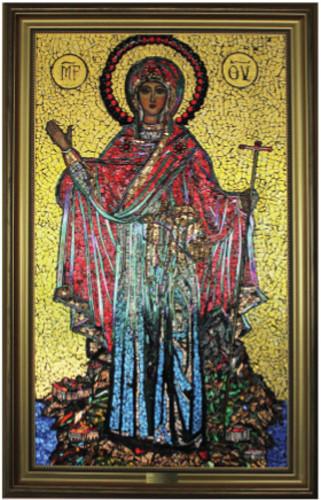 Jumalanäidin lasi-ikoni Lammin luostarikeskuksessa. Kuva: Eila-Blom Nieminen